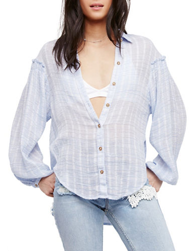 Free People Highlands Button-Up Shirt-BLUE-Medium