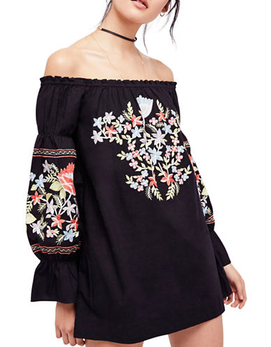 Free People Fleur Du Jour Mini Dress-BLUE-X-Small