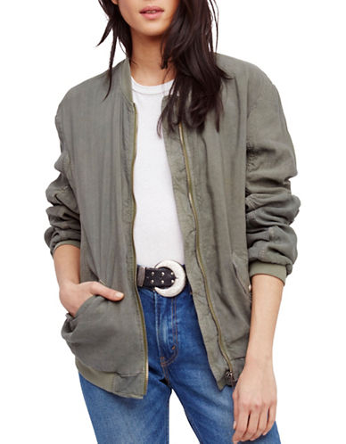 Free People Linen-Blend Bomber Jacket-GREEN-Large