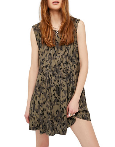 Free People Fake Love Mini Dress-GREEN COMBO-X-Small
