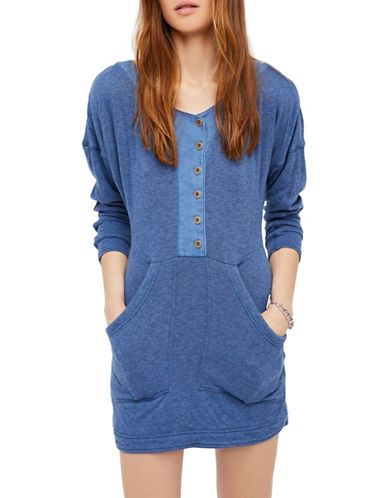 Free People Seeking Heart Cotton Mini Dress-BLUE-Large