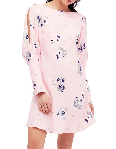 Free People Sunshadows Mini Dress-PINK COMBO-8