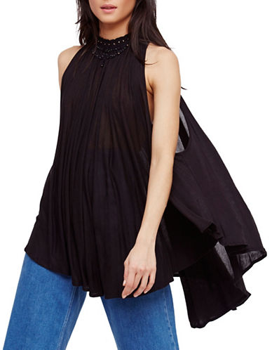 Free People Sabrina Embroidered Tunic-BLACK-Small