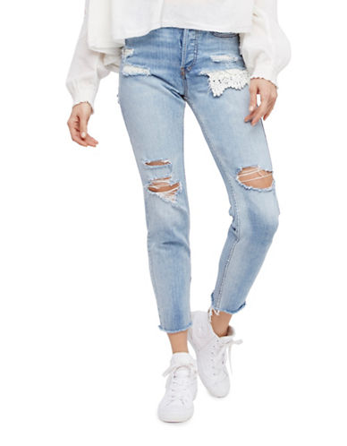 Free People Lacey Distressed Jeans-BLUE-27