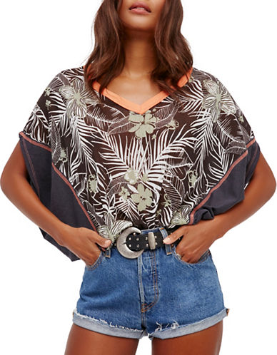 Free People Margot Printed Blouse-BLACK MULTI-Medium