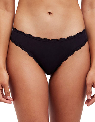 Free People Low-Rise Cotton Tanga Panties-BLACK-Medium