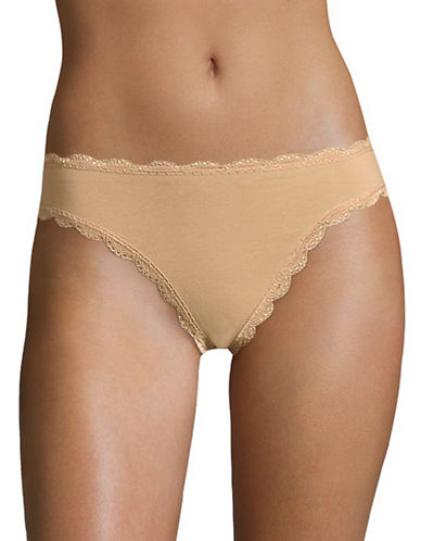 Free People Low-Rise Cotton Tanga Panties-NUDE-X-Small