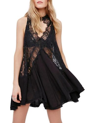 Free People Tell Tale Lace Choker Dress-BLACK-Medium