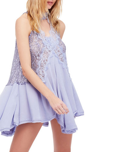 Free People Tell Tale Lace Choker Dress-BLUE-Medium