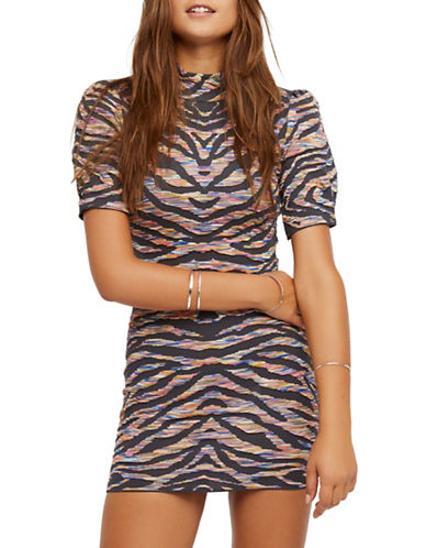 Free People Take Me Out Printed Mini Bodycon Dress-GREY MULTI-Small