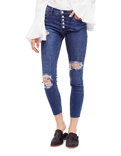 Free People Distressed Denim Jeans-BLUE-30