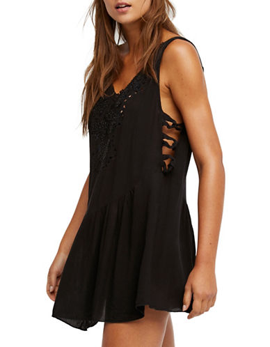 Free People Delphine Embellished Mini Dress-BLACK-Small