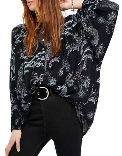 Free People Metallic Blooms Tunic-BLACK-Small