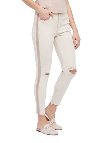 Free People Side Embellished Denim Skinny Jeans-IVORY-25