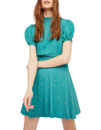 Free People Abbie Printed Mini Dress-GREEN-10