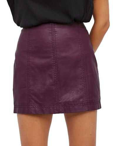 Free People Modern Femme Vegan Mini Skirt-RED-2