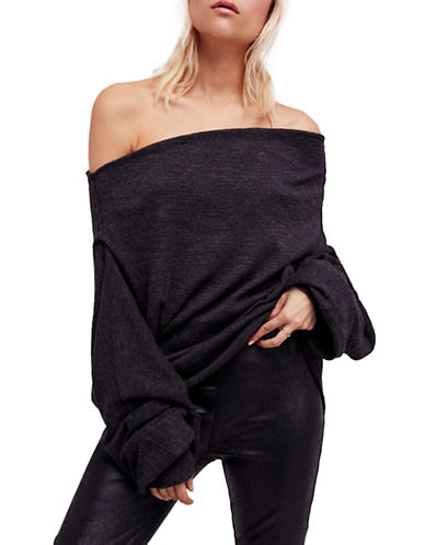 Free People Skyline Thermal Off the Shoulder Top-BLACK-Large