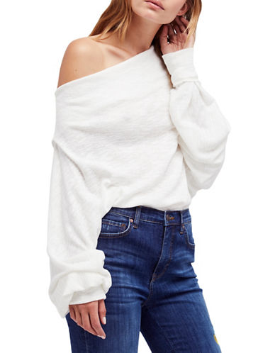 Free People Skyline Thermal Off the Shoulder Top-IVORY-Medium