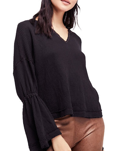 Free People Dahlia Cotton Bell Sleeve Top-BLACK-Small