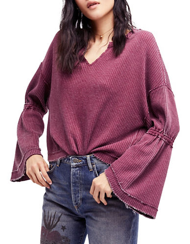 Free People Dahlia Cotton Bell Sleeve Top-RED-Small