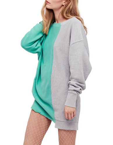 Free People Colourblock Pullover-GREEN COMBO-Large