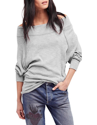 Free People Off-The-Shoulder Sweatshirt-GREY-Small