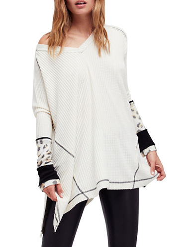 Free People Lovin Thermal V-Neck Sweater-IVORY-X-Small