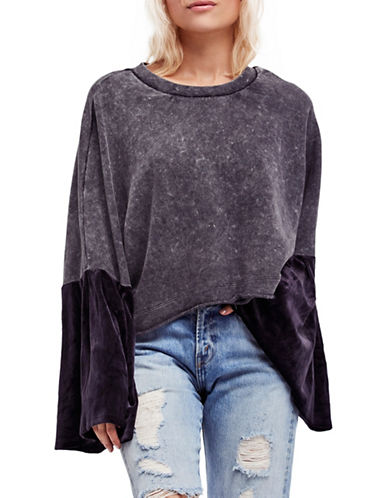 Free People Glorious Sleeves Cropped Pullover-BLACK-Large