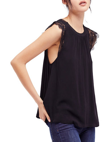 Free People Lovin on You A-Line Top-BLACK-Small