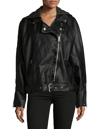 Free People Drapey Vegan Moto Jacket-BLACK-Medium