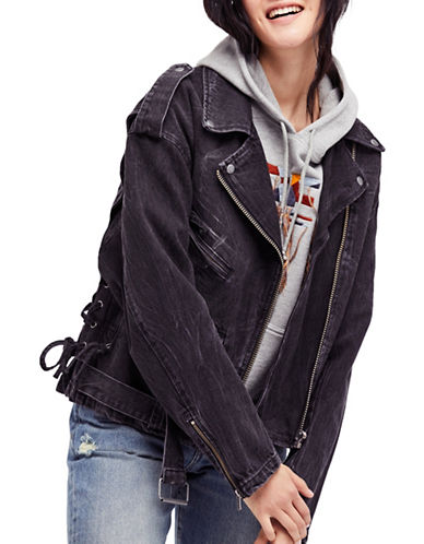 Free People Oversized Denim Cotton Motorcycle Jacket-BLACK-Small