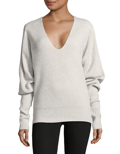 Free People Gingersnap V-Neck Sweater-GREY-X-Small