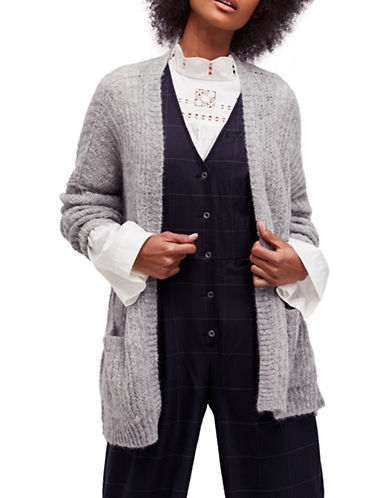 Free People Weekend Getaway Open Cardigan-GREY-X-Small