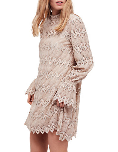 Free People Simone Mini Shift Dress-WHITE-Large