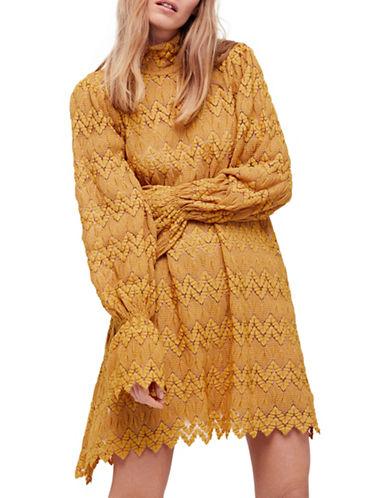 Free People Simone Mini Shift Dress-YELLOW-Medium