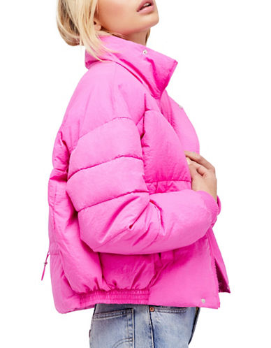 Free People Cropped Puffer Coat-PINK-X-Small