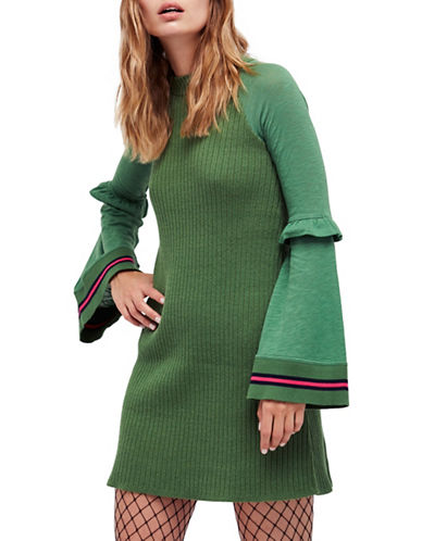 Free People Zou Bisou Bell Sleeves Mini Dress-GREEN-Large