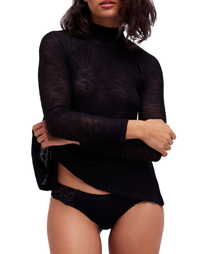 Free People Weekends Snuggle Turtleneck-BLACK-X-Small
