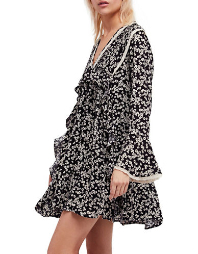 Free People Like You Best Floral Mini Dress-BLACK COMBO-X-Small