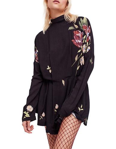 Free People Gemma Floral Tunic-BLACK-X-Small