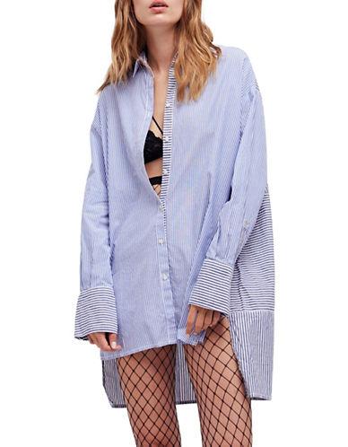 Free People Lakehouse Stripe Button-Down Shirt-BLUE-Medium