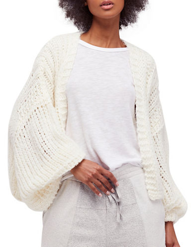 Free People Chamomile Open Front Cardigan-IVORY-Large