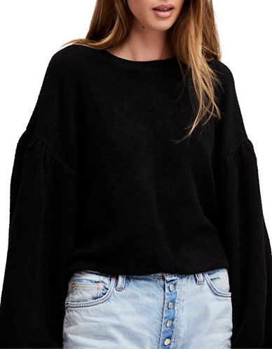 Free People Sleeves Like These Oversized Sweater-BLACK-Small