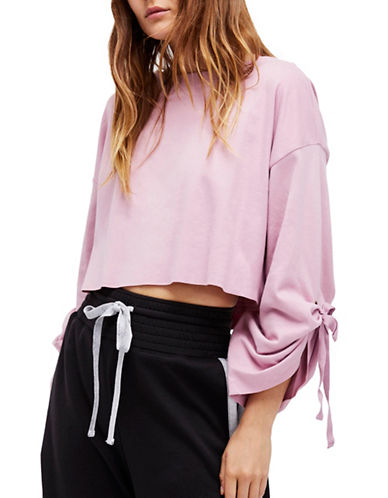 Free People Holala Cropped Sweatshirt-PINK-Medium
