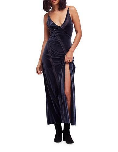 Free People Spliced Velvet Maxi Dress-GREY-X-Small