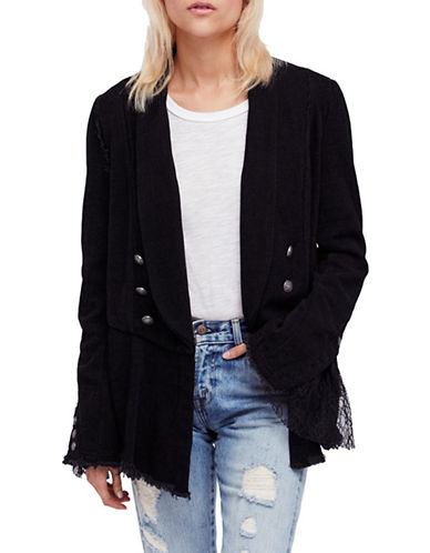 Free People Lace Hem Blazer-BLACK-X-Small