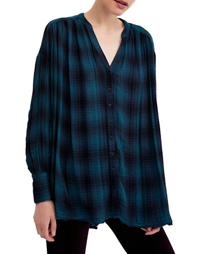 Free People Come On Over Plaid Tunic-BLUE MULTI-Medium