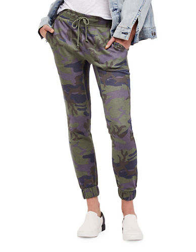Free People Camouflage Cotton Jogger Pants-GREEN-Small