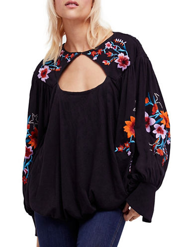 Free People Lita Floral Embroidery Top-BLACK-Small