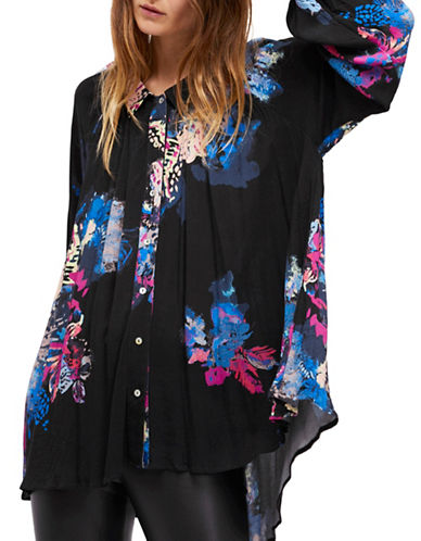Free People Meadow Lark Button-Down Shirt-BLACK-Small